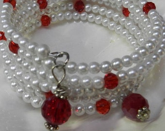 Multi-Coiled Wrap Memory Wire Bracelet, Red Crystals and White Glass Pearl Beads - FREE SHIPPING