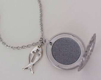 Essential Oil Diffuser Necklace, Stainless Steel, Christian Symbol, Aromatherapy Locket, Oil Necklace, Aromatherapy Necklace, Oil Jewelry