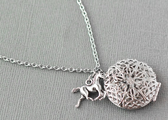 stainless steel locket and chain Essential oil diffuser necklace with horse charm for aromatherapy