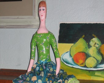 One of a Kind hand pianted art doll- Lovely long lime lady!