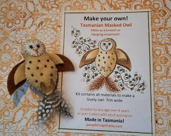Craft kit for Tasmanian Masked Owl - Brooch or hanging ornament
