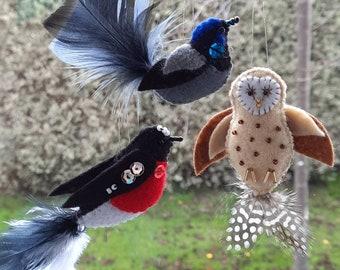 Crafternoon set of 3 felt Tasmanian bird craft kits. -Wren, Robin and Owl.