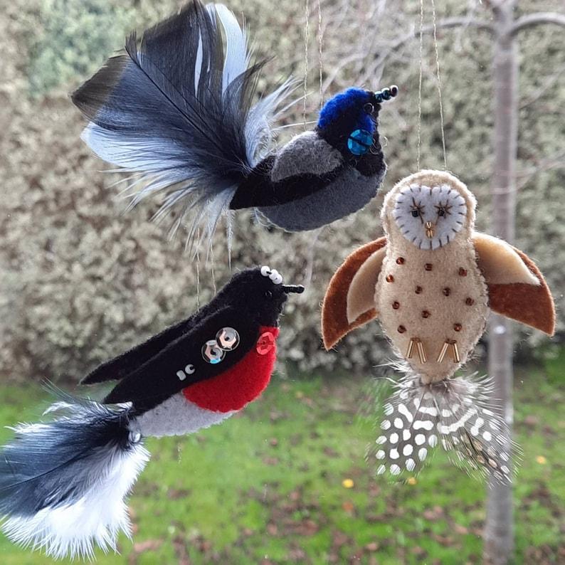 Crafternoon set of 3 felt Tasmanian bird craft kits. Wren image 0