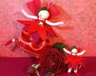 Rose and Rosebud, Set of fairy doll and matching brooch.