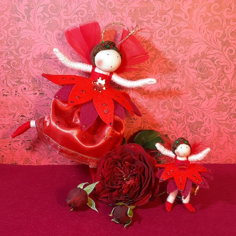 Rose and Rosebud Set of fairy doll and matching brooch. image 0