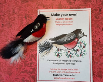 Craft kit for Scarlet Robin - Brooch or hanging ornament