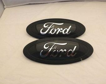 Ford F  Super Duty Oval Emblem Setblack Chrome Logo Grille Tailgateno Camera Front