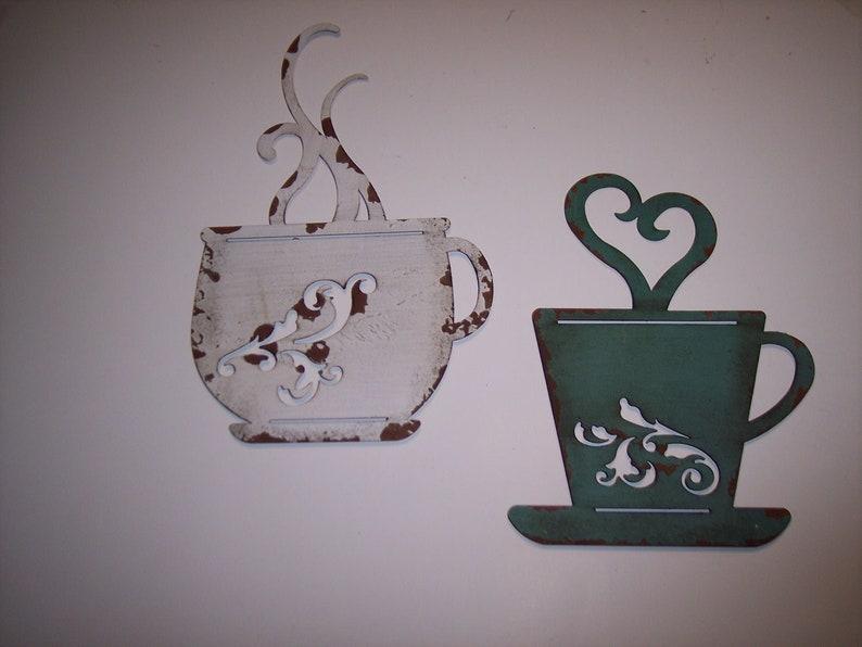 Awe Inspiring Metal Wall Art Of White And Aqua Coffee Cup Kitchen Metal Wall Art Kitchen Decor Kitchen Coffee Cup Art Coffee Cup Art Coffee Cup Decor Interior Design Ideas Gentotryabchikinfo