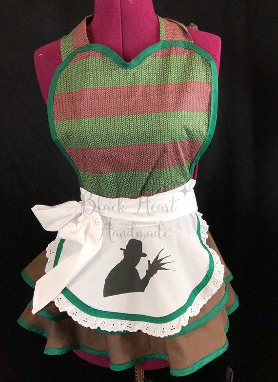 Freddy Krueger inspired horror retro apron OOAK