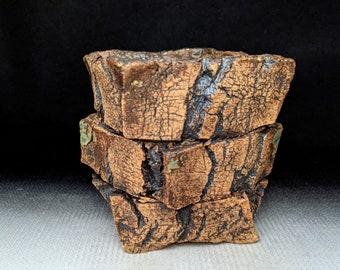 "Chingwenarts 4""w ×4.5""H Handmade Stoneware bonsai succulent pot with drain hole #E 1253"