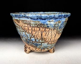 "Chingwenarts  5.25""w×3.75""H Handmade stoneware Pot with drain hole # E 1160"