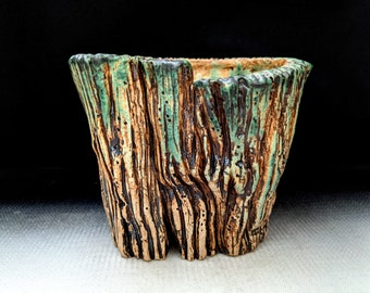 "Chingwenarts 5.25""×4.75""w ×4.25""H Handmade Stoneware bonsai succulent pot with drain hole #E 1249"