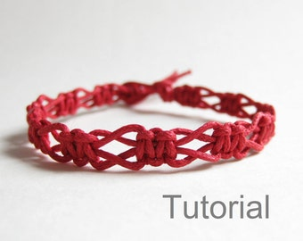 Beginners Macrame Knotted Bracelet Pdf Tutorial Pattern Jewelry Step By Easy Red Diy Instructions Micro Jewellery How To