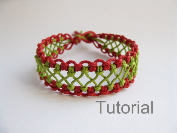 Macrame Bracelet Pattern Instructions Tutorial Pdf Red Green Lacy How To Micro Makrane Knotted Step By Step Instant Download Easy Jewelry