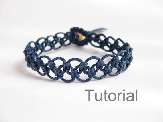 Tutorial Macrame Bracelet Pattern Pdf Easy Navy Blue