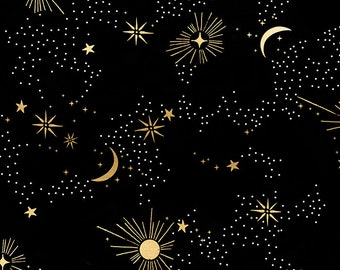 1//2 Yard Star and Moon Black Nursery Cotton Dressing Craft Quilting Fabric