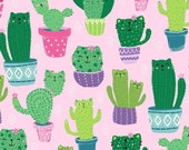 Cat Cacti in Pink Timeless Treasures Fun-C7582 Quilting Fabric Potted Cat Cacti