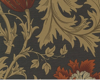 PRE ORDER | Anemone Large Floral Vine in Black | Best of Morris by Barbara Brackman | Moda Fabrics 8366-12 | 100% Cotton Quilting Fabric