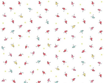 Riley Blake Cinderberry Stitches Butterfly Dance Caterpillar's on White by Natalie Lymer by the Yard ~ 1/2 Yards ~ Fat Quarters