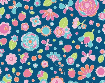 Riley Blake Flutterberry by Melly & Me Main Floral in Navy C4590 by the Yard