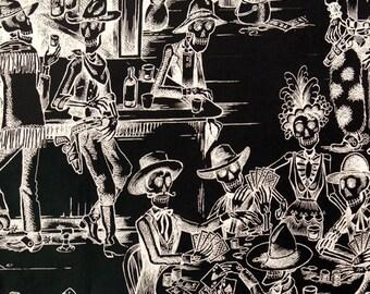 Deadwood Saloon in Black/Tea 8339-B by Nicole Prints for Alexander Henry by the Yard