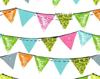 Michael Miller Party Bunting Flags in Aqua by the Yard