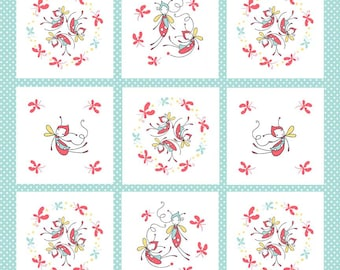 Riley Blake Cinderberry Stitches Butterfly Dance by Natalie Lymer Butterfly Panel in Blue