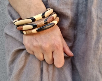 Vintage Wooden Bangle Bracelets - 1970s Geometric Jewelry