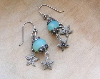 Starfish Chalcedony Earrings, Nautical Mermaid Earrings