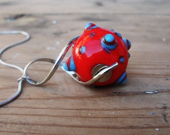 Geometric Kinetic Necklace - Glass Lampwork and Metal