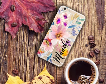 Birthday gift for her, Monogrammed Iphone 6s case clear, Floral Iphone 6 Plus case transparent, Pretty women's Iphone case flowers (1673)