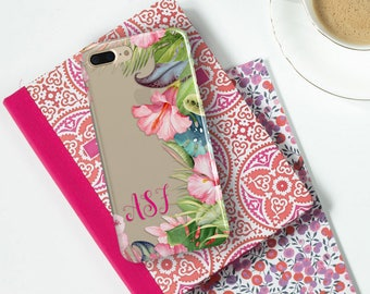 Tropical clear iPhone case, Ferns and pink flowers, Monogrammed gifts for daughter, For Her - For 5/5s/SE,  6/6s /Plus, 7 / Plus (1812)