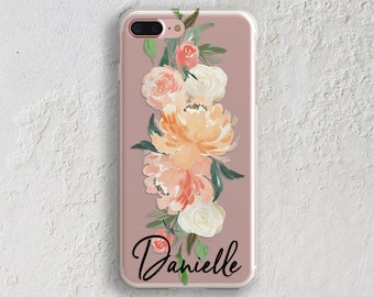 Spring iPhone 8 case Clear phone case Pink flowers Pretty iPhone case iPhone 7 plus case iPhone X case Fits Samsung S8 Case S7 Case (1837)