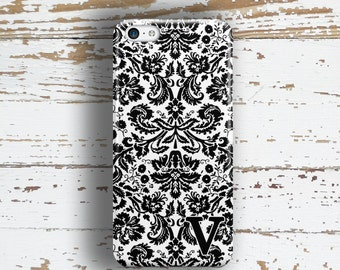 Women's fashion accessories, Monogram Iphone SE case, Pretty iphone 5c case, Damask iphone 5s case, Personalized Iphone 5 case Black (1059)