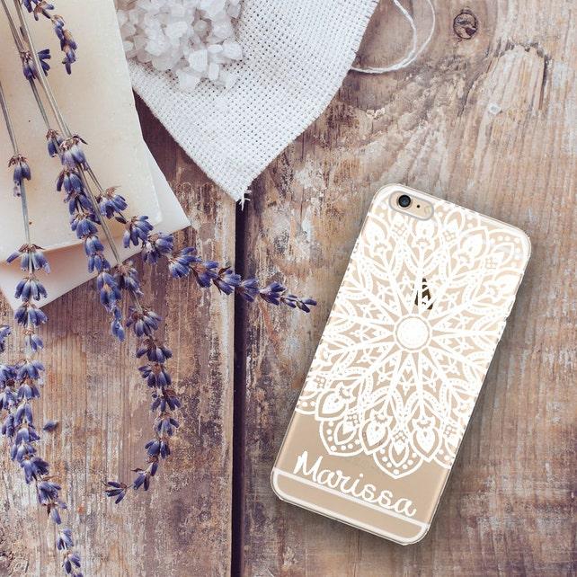 Clear Plastic Iphone 6 Case With Design Mandala Iphone 6 Plus Case