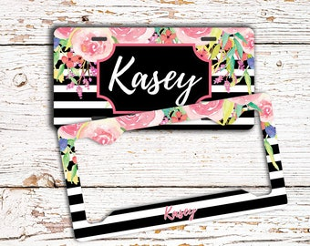 Black stripe with pink flowers, Floral license plate or frame with monogram, Unique housewarming gift, Your name or initials (1777)