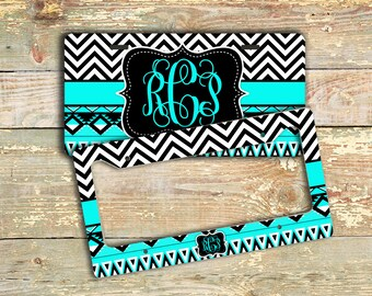 Gift for women under 20, Cute monogram license plate or frame, Aztec pattern chevron turquoise black, Tribal Bicycle license plate (1292)