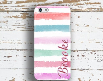 Unique gift for sisters , Cute Iphone case, iPhone 8 case iPhone 8 Plus iPhone SE, Iphone 6for her Fashion Pink, blue, purple stripes (1341)