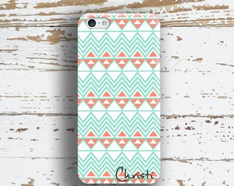 Tribal Iphone case, Aztec Iphone 6 case, Tribal Iphone 5s case, Girls iPhone 5c case, Pretty iPhone 4 case, Chevron aqua blue coral (1305)