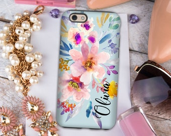 Monogram Iphone 6s Plus case, Floral Iphone 6 case Personalized iPhone 8 case For Her Light blue with flowers, Pretty Iphone SE case  (1673)