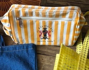 Vintage Bag Giorgio Beverly Hills Yellow White Stripe Trending Bag Makeup  Bag Travel Bag with Handle 3c7f1381b3