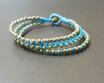 Triple Blue Brass Bracelet