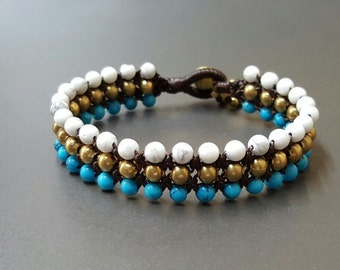 Triple Blue and White Howlite Brass  Bracelet