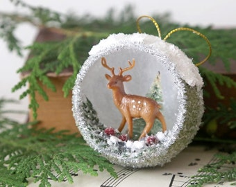 Christmas Diorama Ornament, Deer, Tiny Bottle Brush Trees, German Glass Glitter, Vintage Inspired Christmas Ornament, Folk Art Holiday Decor