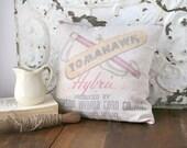 Grain Sack Pillow, Tomahawk Hybrids Pillow, Farmhouse Pillow, Upcycled Grain Sack Pillow