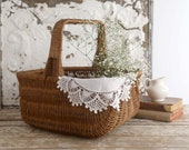 Vintage Basket with Handle, Farmhouse Basket, Gathering Basket, Cottage Basket