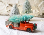 Vintage Red Orange Truck and Christmas Tree, Farmhouse Christmas Decor, Red Orange Truck, Bottle Brush Trees, Christmas Truck and Tree