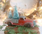 Vintage Red Truck and Christmas Tree, Farmhouse Christmas Decor, Christmas Truck and Tree, Red Truck, Bottle Brush Trees