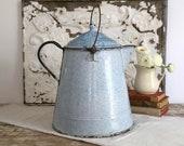 Vintage Large Blue Enamel Coffee Pot, Farmhouse Decor, Blue Graniteware Pot, Blue and White Enamel Kettle