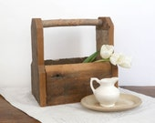 Vintage Rustic Wood Caddy, Farmhouse Decor, Wooden Tool Carrier, Wood Garden Carrier, Vintage Wood Trug